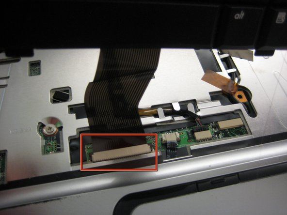 Remove the ribbon from the computer by pulling straight back (away from the track pad and towards the monitor).