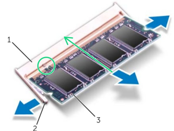 Align the notch on the memory module with the tab on the    memory-module connector.