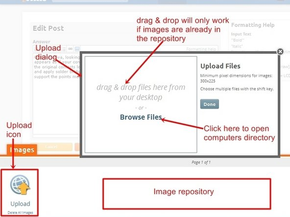 """Pour ouvrir la boîte de dialogue d'importation d'images, cliquez sur l'icone """"Télécharger"""", cela ouvrira une boîte de dialogue. À partir de là, les images peuvent être placées dans la question, via un """"glisser-déposer"""", seulement si elles sont déjà dans le dépôt d'images. La plupart du temps, il faudra utiliser l'icône """"Parcourir les fichiers"""". ."""