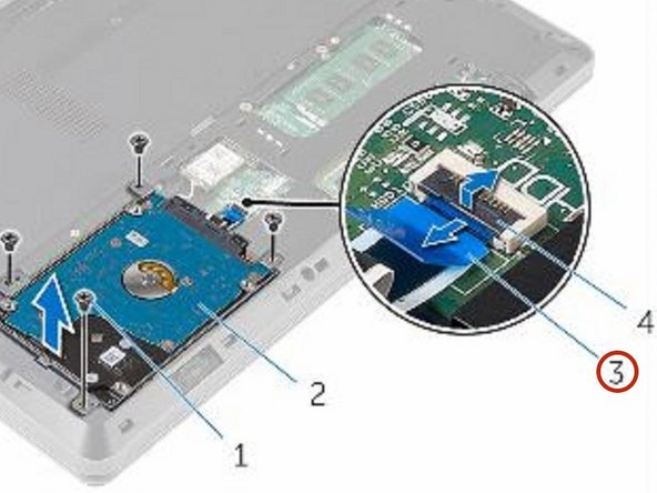 Open the latch and disconnect the hard-drive cable from the system board.