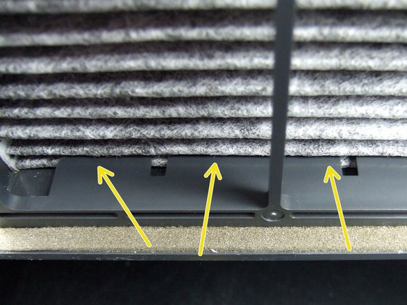 You may wish to vacuum or brush out the filter tray with a soft interior detailing brush.