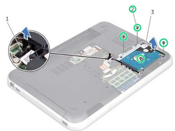 Remove the screws that secure the hard-drive assembly to the computer base.