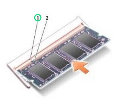 Align the notch in the edge of the NEW memory module with the tab in the memory module connector.