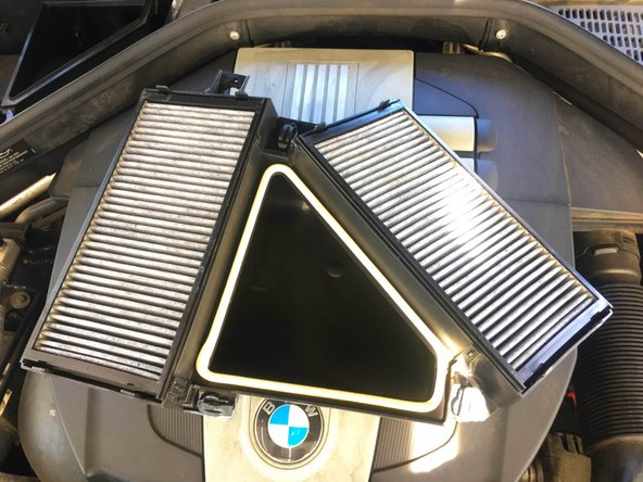 Once the filter cover has been removed two air cabin filters will be exposed.