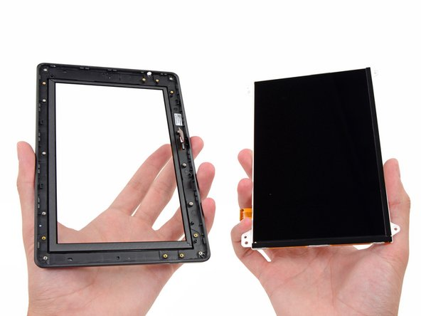 Image 1/3: The front glass panel separates easily from the display, a return to the Kindle Fire construction.