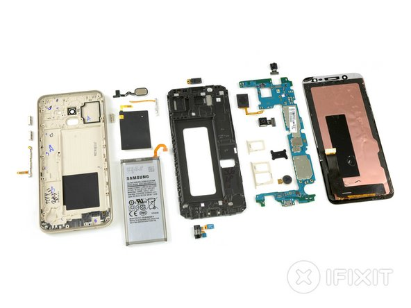 This completes our abbreviated teardown, with all components lined up for inspection. We'd hoped for a bit more modularity in this mid-range phone—but let's tally up the points and see how the J6 performed.