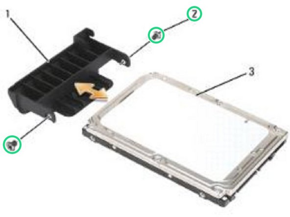 Remove the two M3 x 3-mm screws from each side of the hard drive bezel, then pull to separate the bezel from the hard drive.