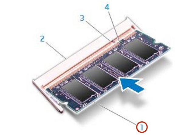 Align the notch on the NEW memory module with the tab on the memory-module connector.