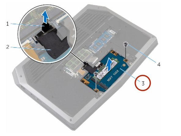 Align the screw holes on the solid-state drive assembly with the screw  holes on the computer base.