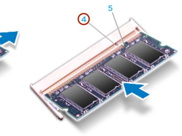 Align the notch on the NEW memory module with the tab on the memory module  connector.