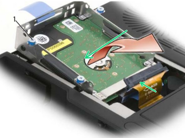Place the hard drive cage upside down on the bottom of the computer with  the SATA connectors and ca bles aligned, and then  firmly press the cables  onto the hard drives' connectors.