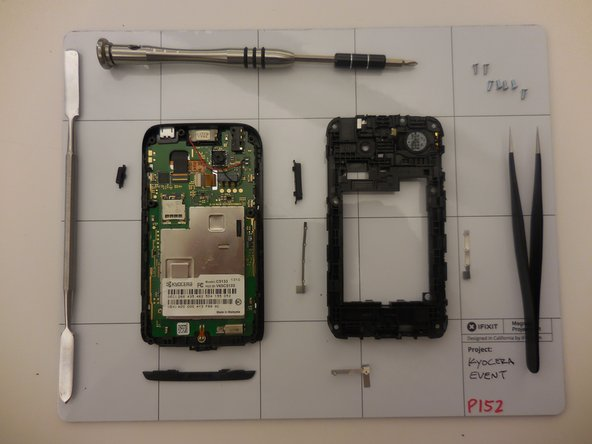 Use the screwdriver with the Y0 bit attached to take out the seven 5mm screws that attach the back cover on the phone.  Make sure to keep track of these screws, as they are pretty important.