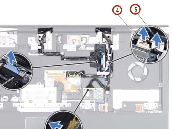 Connect the camera cable and infrared  cable to the respective system  board connectors.