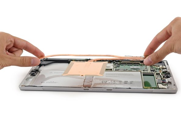 The Surface Pro 4's heat sink shows off its impressive makeover, flaunting longer copper heat pipes and a large copper plate for added heat dissipation.