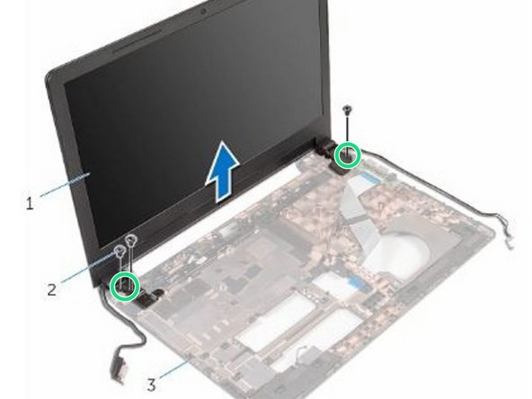 Align the screw holes on the display hinges with the screw holes on the computer base.