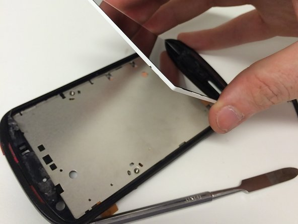 To remove the LCD, remove the sticker on the back of the midframe. It conseals the LCD-flex