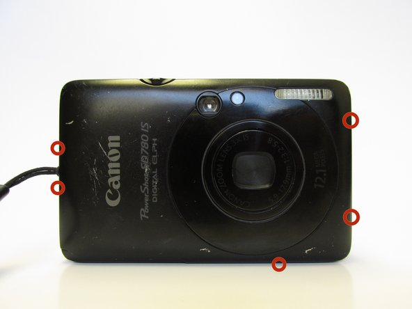 After the battery is removed, use a screwdriver to remove the five outermost screws on the camera to allow for a case replacement. Keep in mind that keeping track of where each screw came from is crucial for when putting the camera back together.