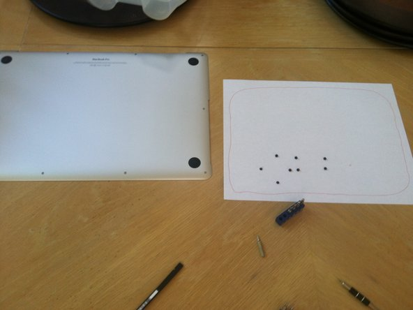 I used paper to make a layout of the screw locations just in case they were different screws; luckily they weren't.