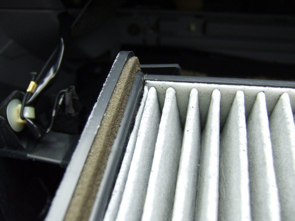 Note the intended air flow through the filter. The air flow in the heater blower is from top to bottom (down). The tray should have an indicating mark.