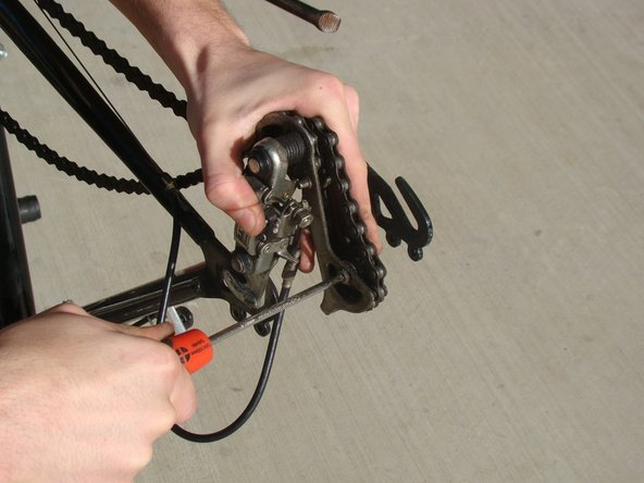 Locate and remove the rear phillips head screw on the sprocket to remove one side of chain guard.