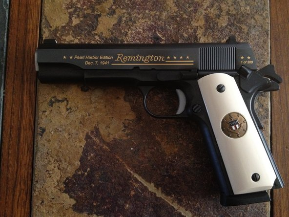 This is you classic 1911A1 style sidearm. I will be using my 1911R1 Pearl Harbor commemorative made by Remington. Check the slide to verify your model.