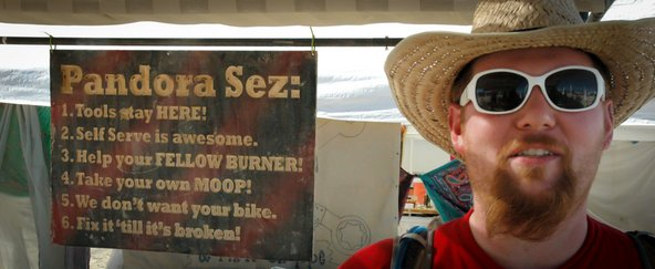 Pandora's bike repair shop rules at burning man