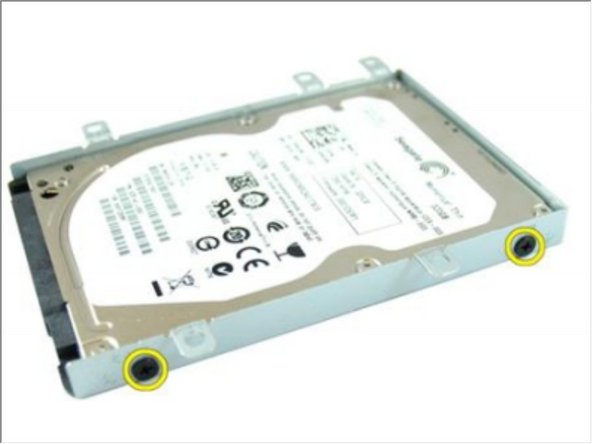 Remove the screws that secures the hard-drive bracket on one side.