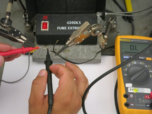 """Using Digital Multimeter in the """"Continuity"""" mode, place two probes on the soldered wires of the same color. You will hear audio signal indicating that there is a connection."""