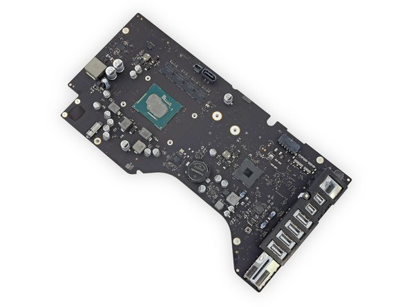 Image 1/1: If your iMac is equipped with the Fusion Drive option, you will also need to remove the SSD from the back side of the logic board and transfer it to your new logic board. [https://www.ifixit.com/Guide/iMac+Intel+21.5-Inch+Retina+4K+Display+SSD+Replacement/64109#s68826|Remove the SSD by following these steps|new_window=true].