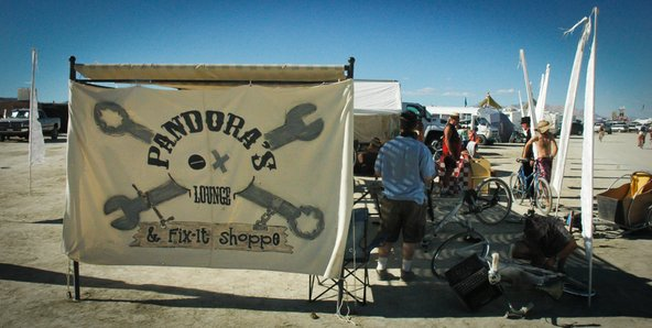 Pandora's bike repair shop at Burning Man