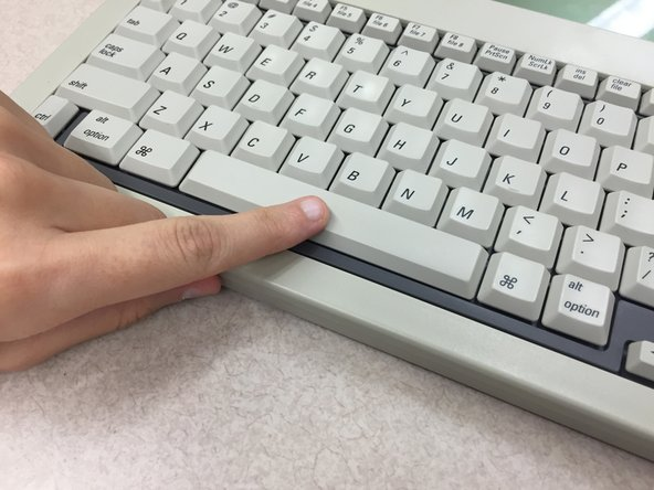 "Use your index finger to press down on the middle of the key. You should hear it ""click"" into place."