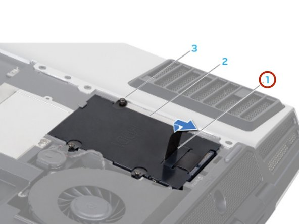If your computer has a secondary hard drive (HDD1): 1.  Loosen the four captive screws on the secondary hard drive (HDD1). 2. Using the pull tab, lift the secondary hard drive (HDD1) out of the hard drive bay.