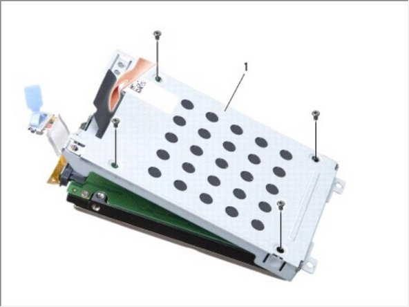 Remove the four M3 x 3-mm screws securing the hard drive cage to the hard drive.
