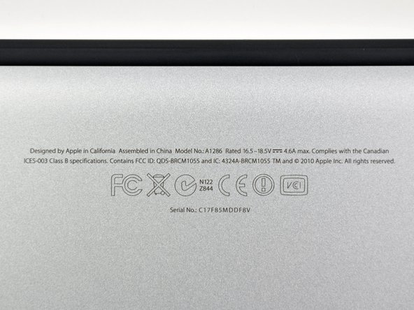 This machine is still model A1286. Apple's been using that same model number since October 2008.