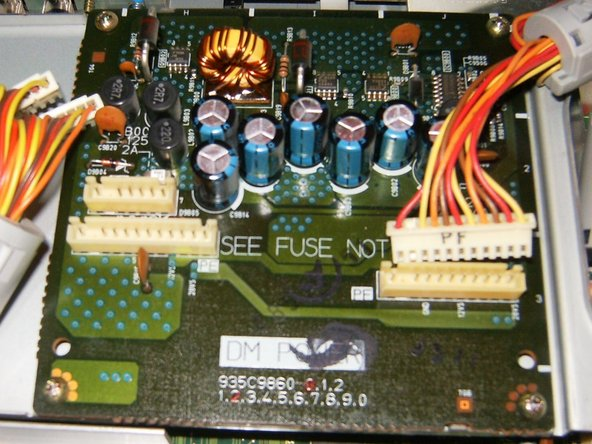 Remove the wiring attached to it (PD,PE,PF). These are simple connector and can just pulled of. These markings are not of importance to this repair. But they all are clearly marked on the connectors as well as the logic board they connect to. This will help to identify their proper position for the re-assembly.