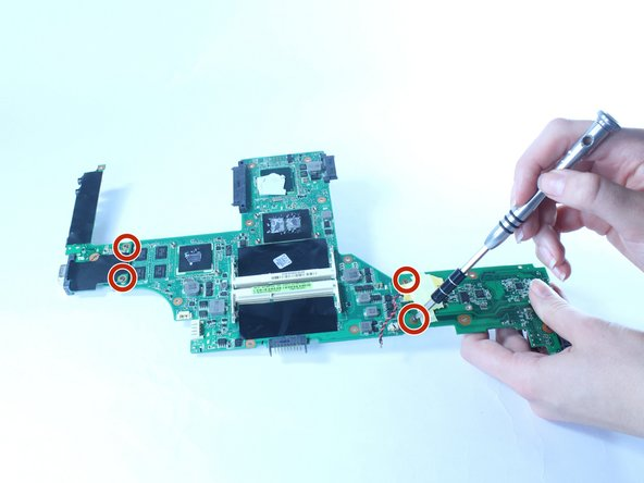 Remove the four, 3 mm screws and disconnect the red and black wire from to the motherboard.