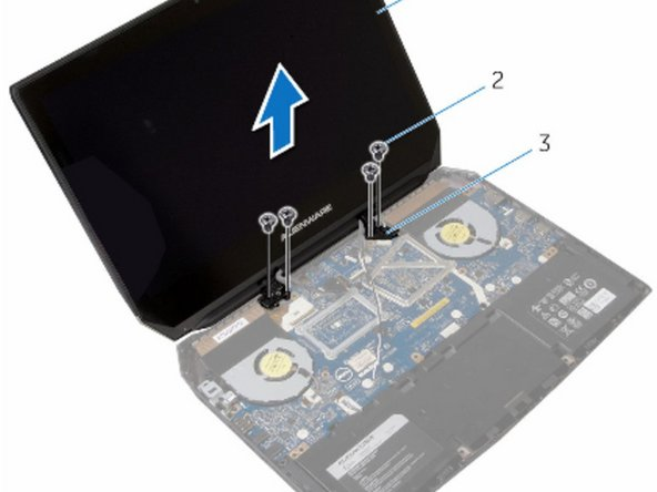 Replace the screws that secure the display hinges to the computer base.