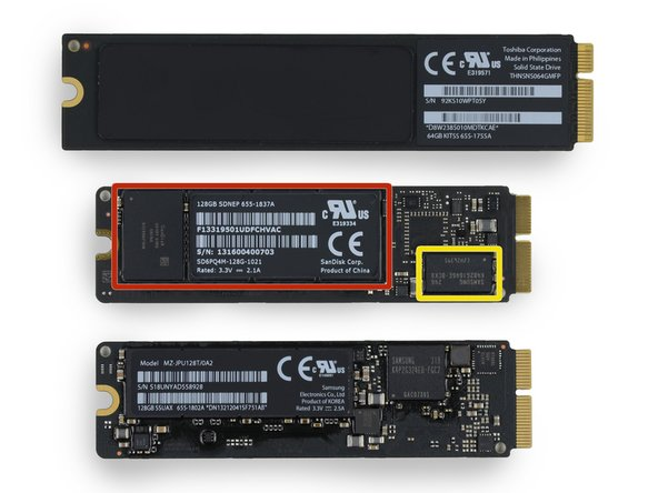 "It appears that the 2013 MacBook Air 11"" uses the same PCIe-based SSD that we dug out of the 13"" model. However, this particular drive is a SanDisk module, fitted with components from three different manufacturers:"