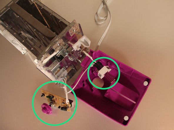 Carefully pull the control board and power switch off.  The knob is fixed to the control board potentiometer.  The Stop button is only held in by the control board.
