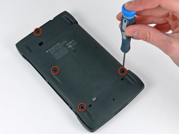 Image 1/2: In the next step you will remove the rear case which is attached to the Newton by several clips around its perimeter. The location of the clips is shown in the second picture.