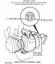 solved alternator won t charge battery 1994 1997 honda accord rh ifixit com Trailer Wiring Harness Connector Alternator Connector Diagram