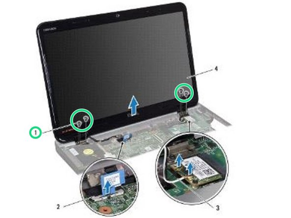 Remove the four screws (two on each side) that secure the display assembly to the computer base.