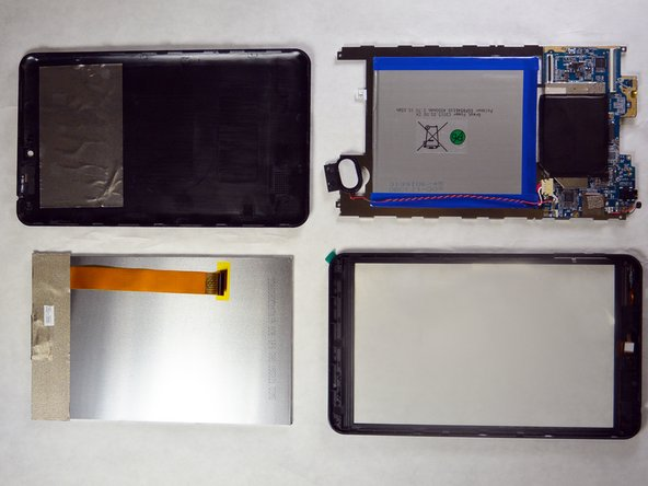 After removing the LCD screen, you should have four main components: The back cover, the motherboard and bracket, the LCD screen, and the front cover.