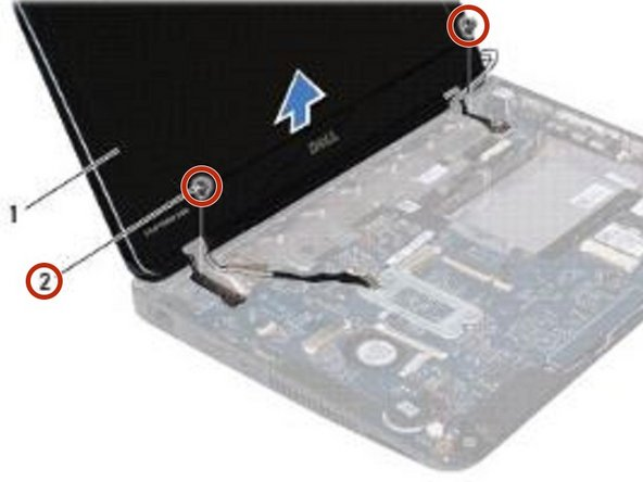 Remove the two screws (one on each side) that secure the display assembly to the computer base.