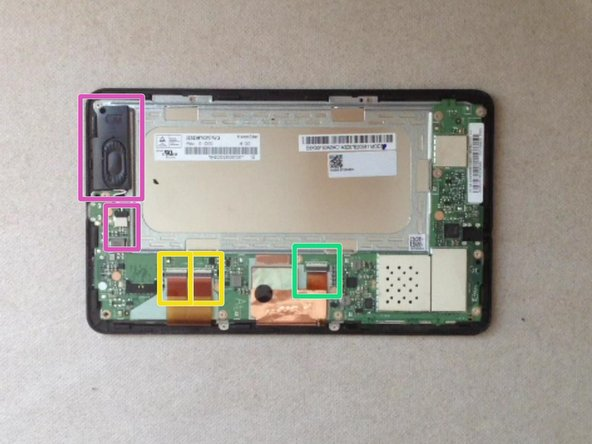Image 1/3: Disconnect the touch screen flex cable.