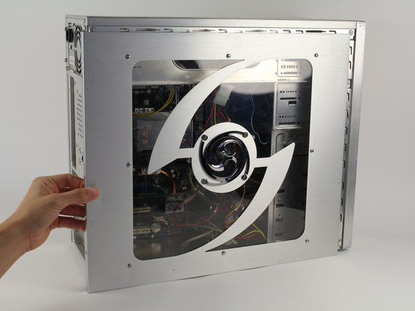 Image 1/2: If there is a fan mounted on the side panel, make sure to unplug the cable before fully removing the panel.
