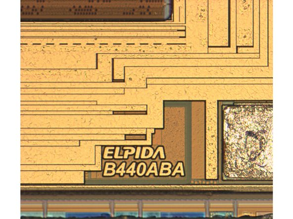 Image 1/2: The die mark (first image) and die photo (second image) confirm the strong hunch that the A6's 1GB LP DDR2 SDRAM is provided by Elpida.
