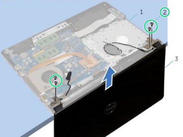 Replace the screws that secure the display hinges to the palm-rest assembly.