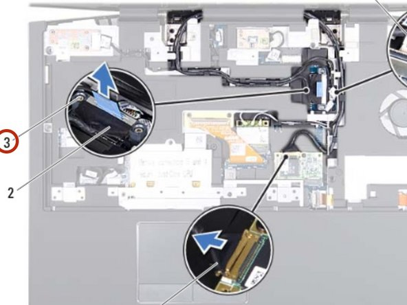 Loosen the two captive screws that secure the display cable to the system  board.