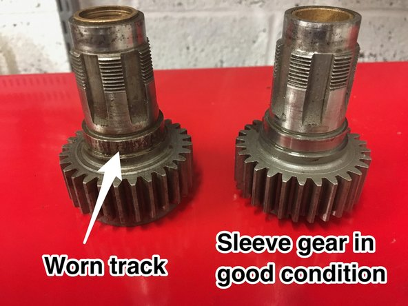 "The output 4th gear (""sleeve gear"") can suffer from wear. Check the exposed bearing track carefully and the inner bushes. If the inner bushes are worn, they can be replaced, but if the bearing track is worn or pitted, then the gear is scrap."